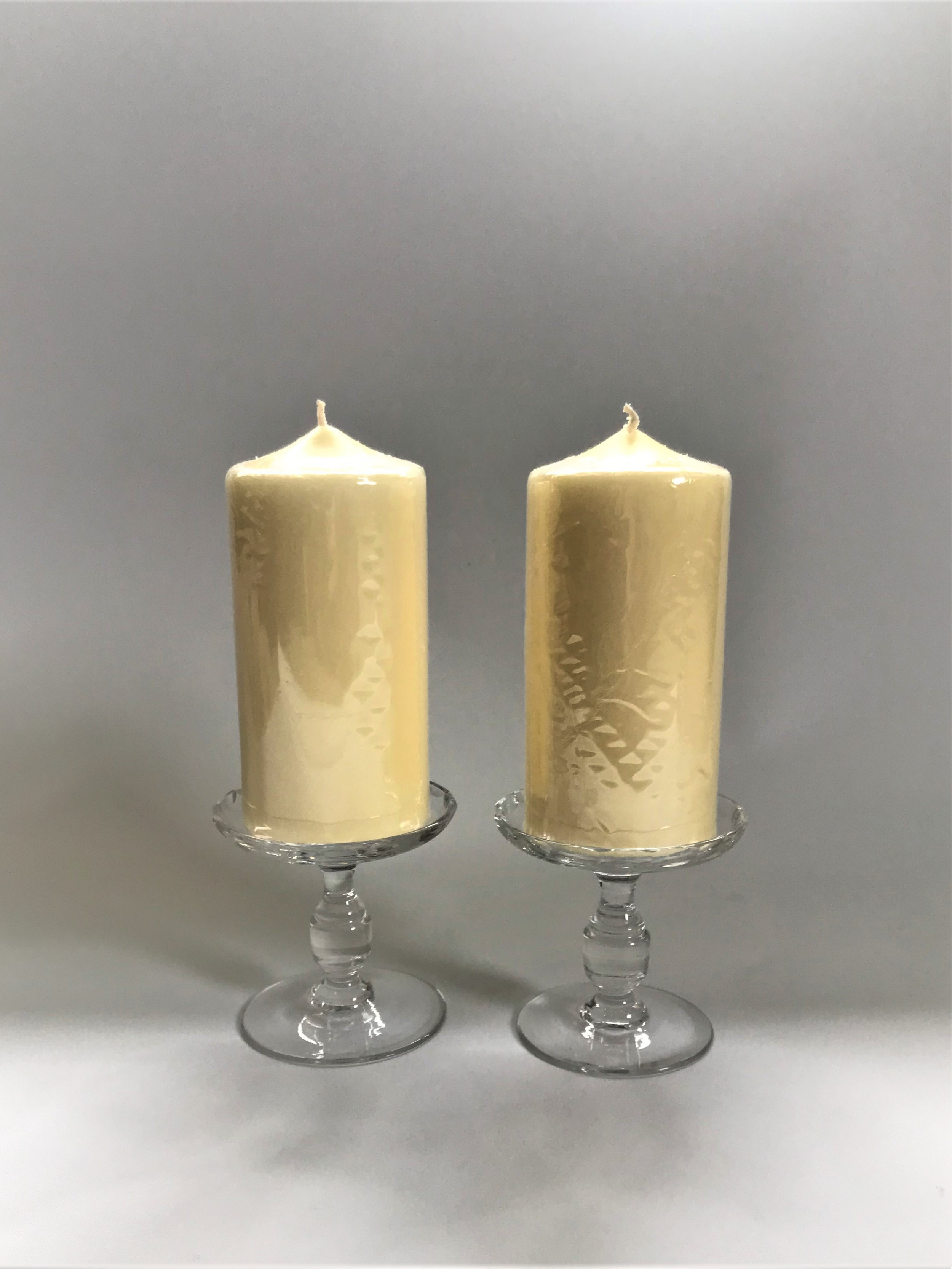a lovely pair of french cut glass candle holders