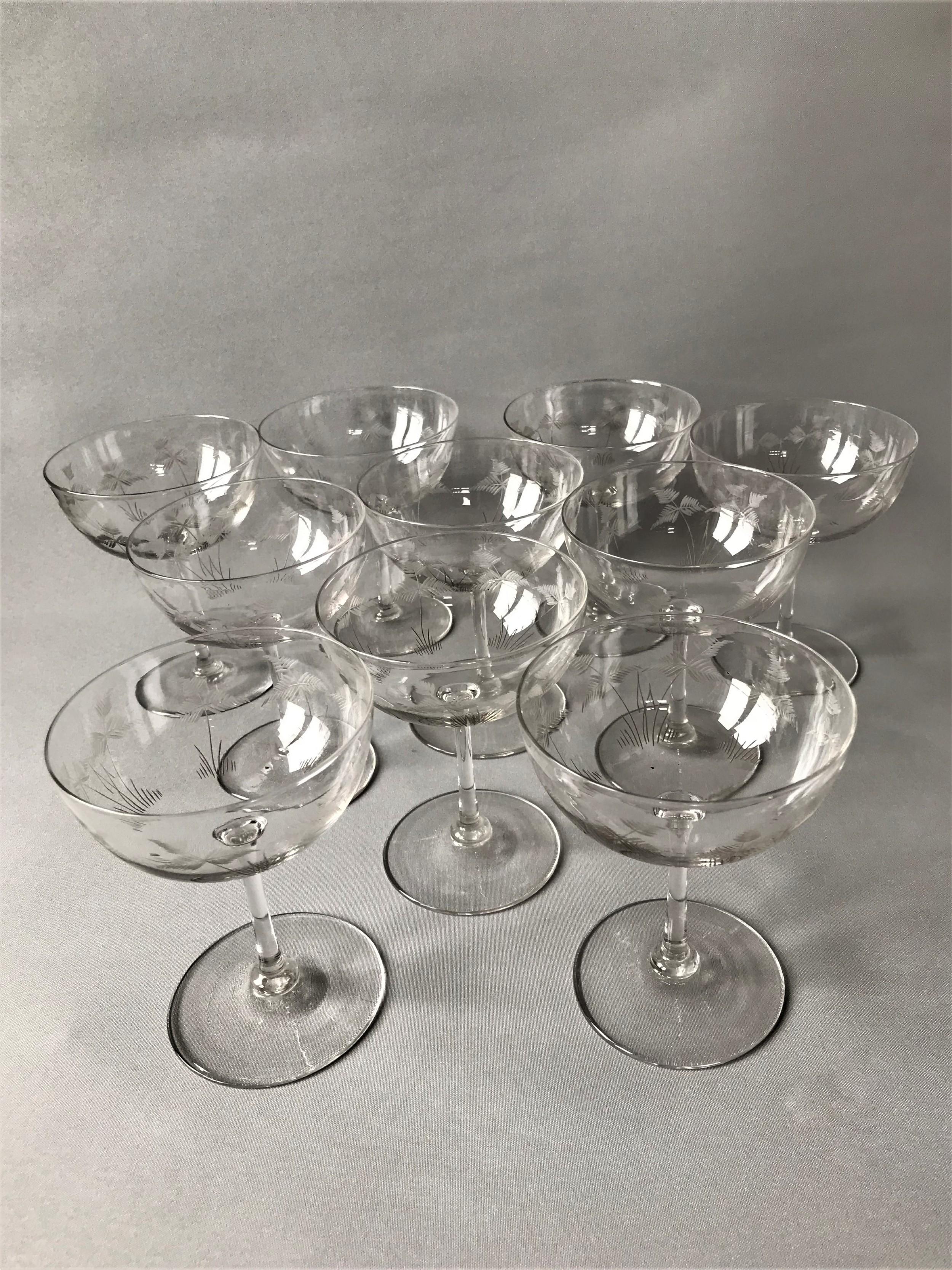 a splendid set of 10 victorian champagne bowls