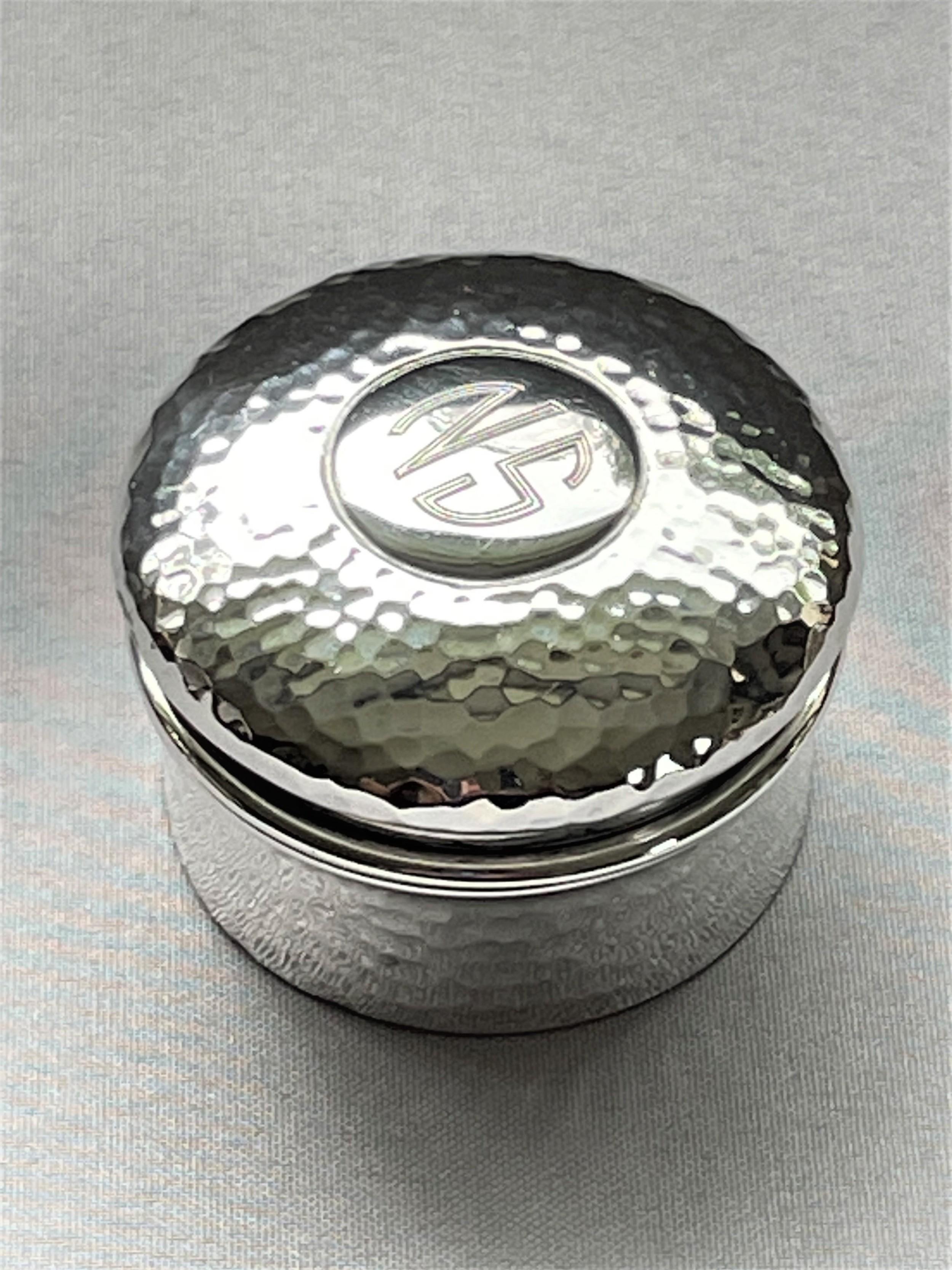 a large arts crafts silver gilt pill box