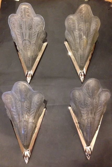 set of four french art deco wall lights by jean noverdy