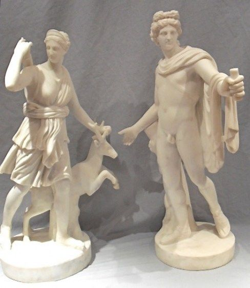 pair of grand tour marble figures of diana and apollo italian 1870