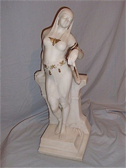 alabaster sculpture of girl with harp french c 1880