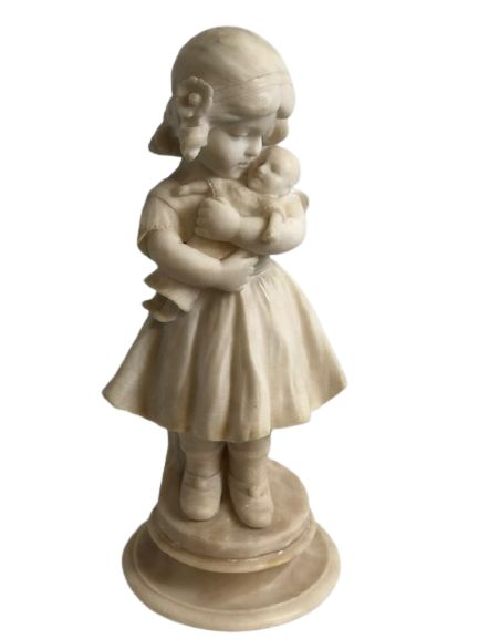 alabaster sculpture of young girl holding a doll french c 1880