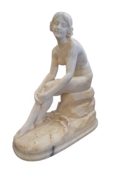 alabaster sculpture of a young lady bathing french 1880