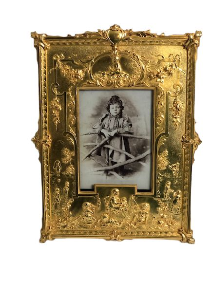 french gilt bronze picture frame depicting children playing circa 1880