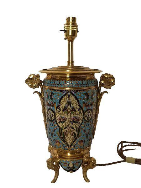 19th century french champleve enamel lamp circa 1890