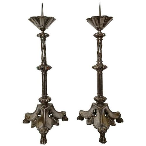 pair of large early 20th century polished steel pricket candlesticks circa 1920
