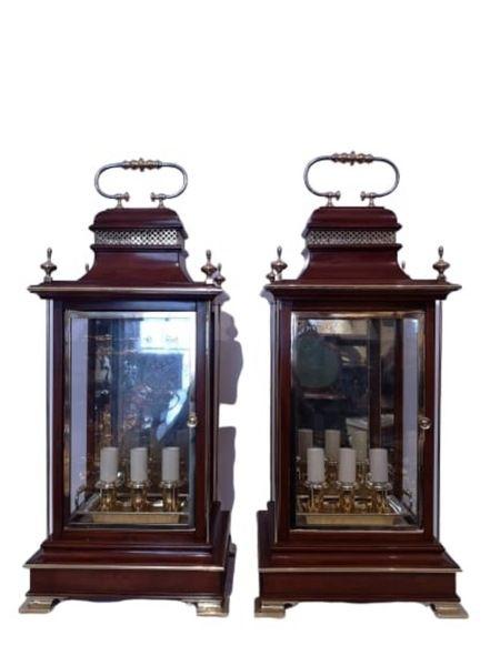pair of early 20th century english mahogany and brass lanterns circa 1910
