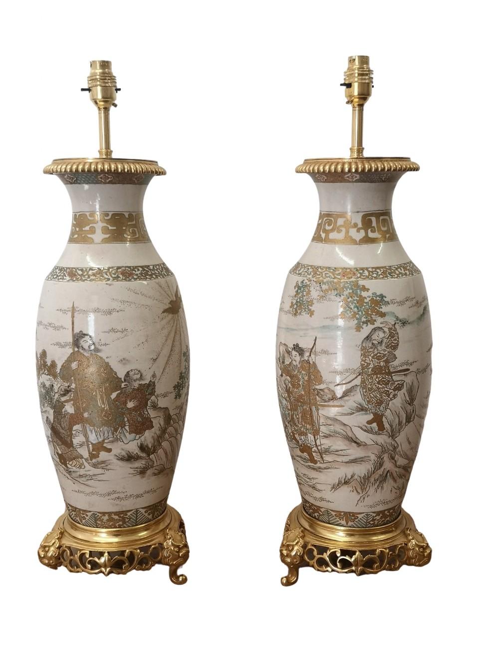 pair of 19th century japanese meji satsuma vases as table lamps
