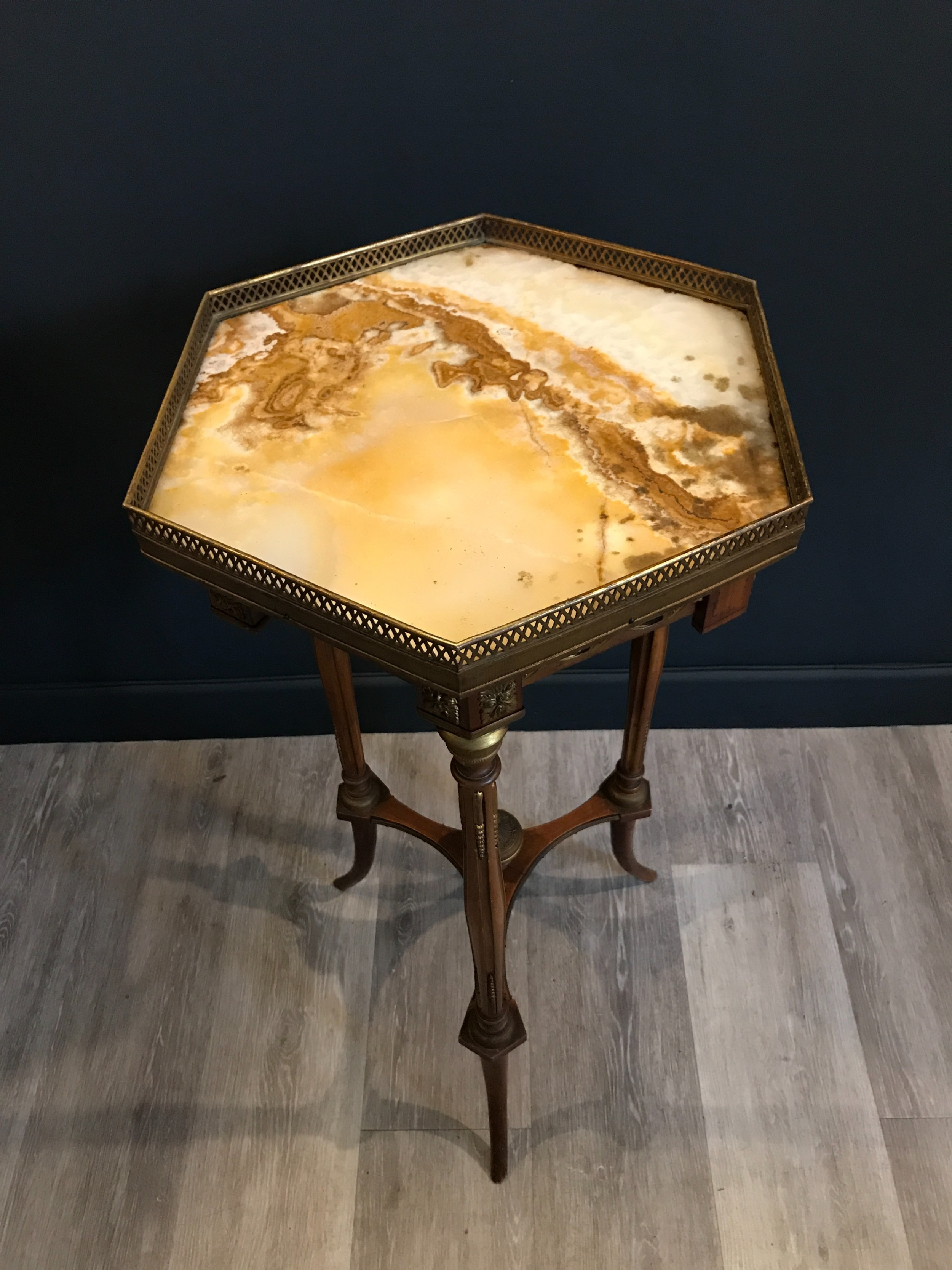 a louis xv style siena marble topped walnut and parcel gilt occasional table c 1910