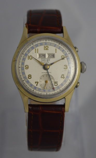 1955 heuer triple date automatic bumper wristwatch