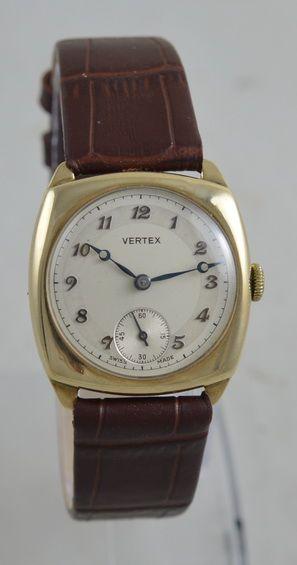 1955 vertex 9k gold 'cushion' cased wristwatch