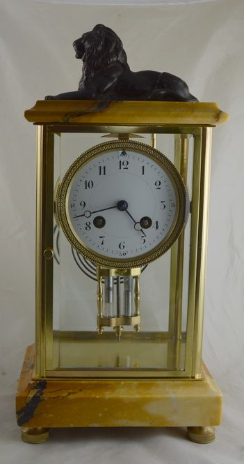 a french marble brass four glass mantle clock