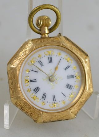 14k gold octagonal pocket watch