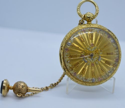 a very fine quality 18k gold multi coloured gents pocket watch