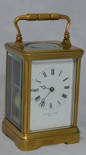 a striking repeating french carriage clock