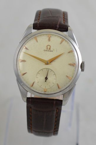 1957 omega 'oversized' stainless steel wristwatch
