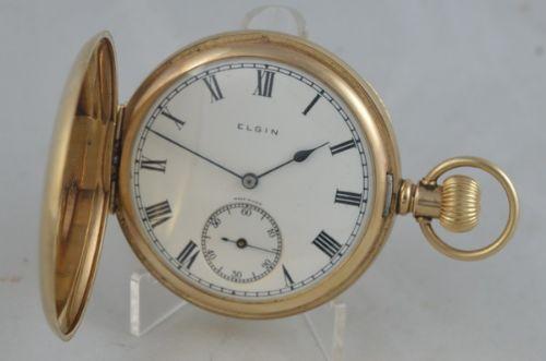 1925 9k gold elgin full hunter pocket watch
