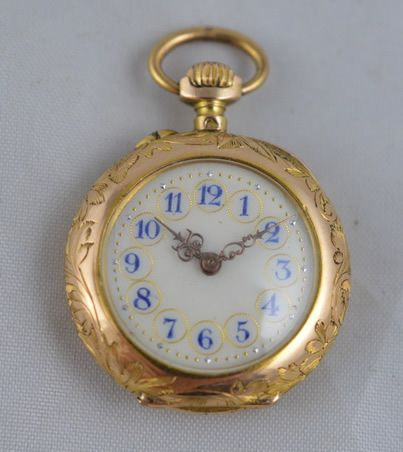 18k gold enamel and diamond pocket watch