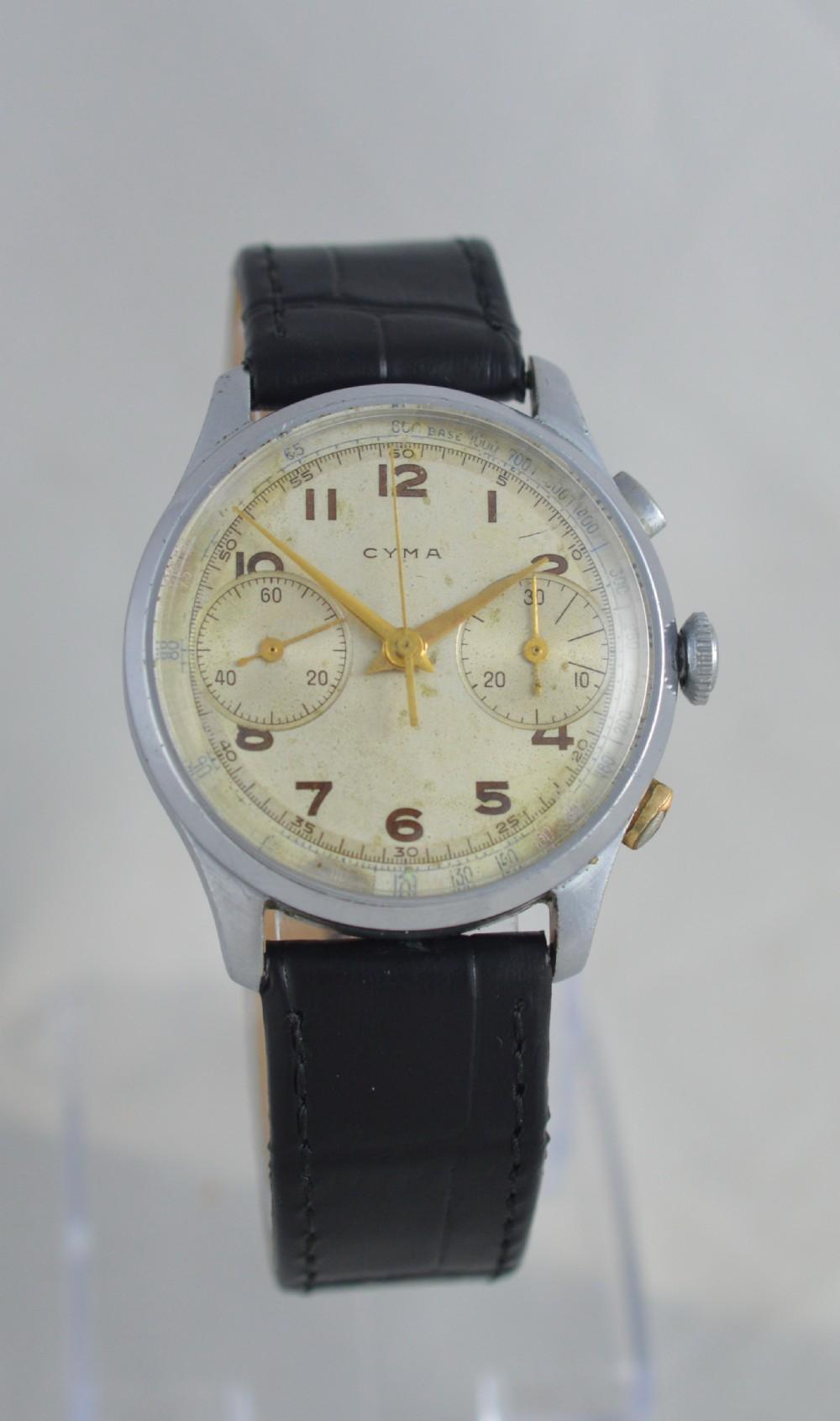 1940s cyma chronograph wristwatch
