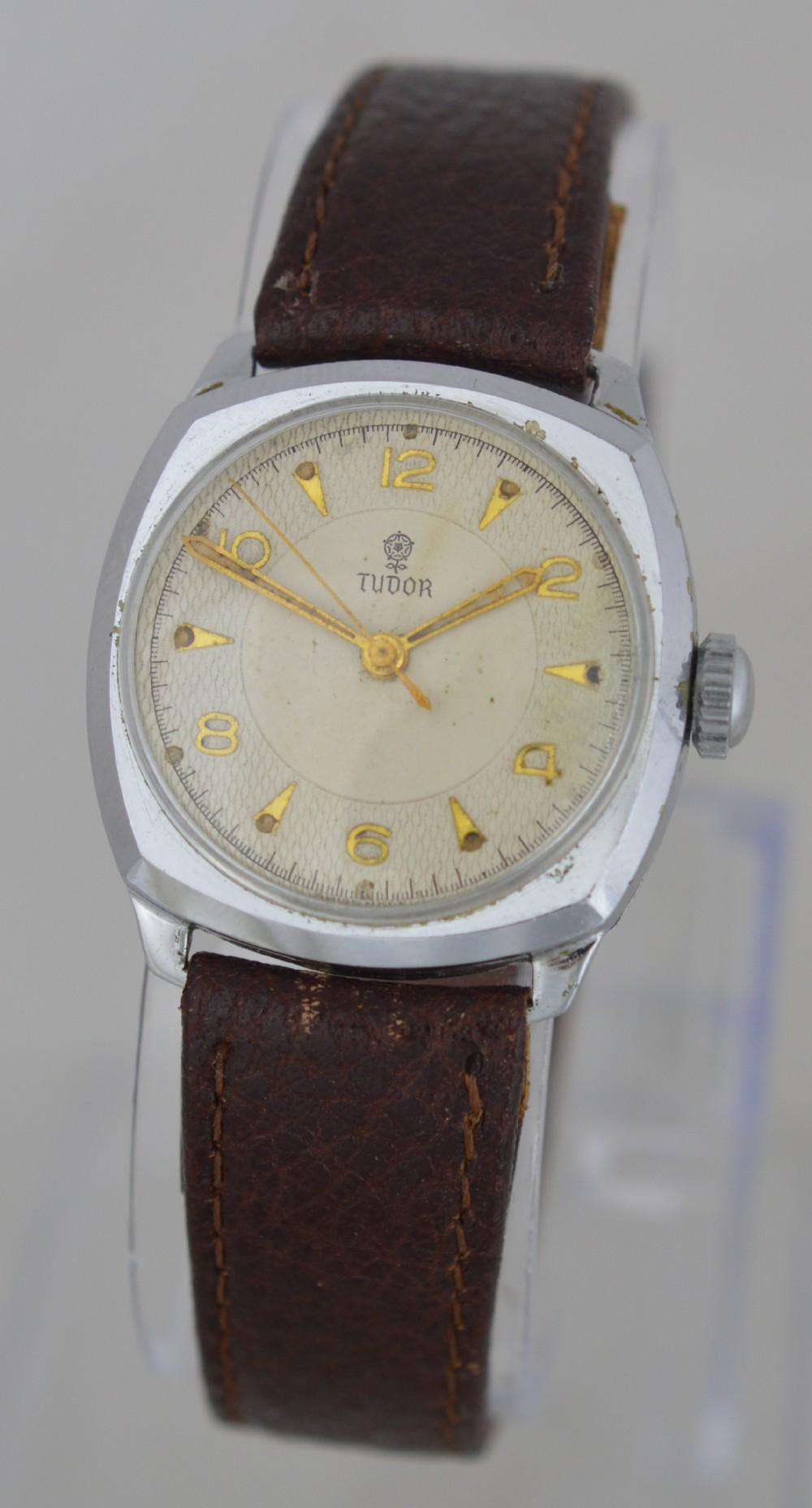 1950s tudor 'cushion' cased wristwatch