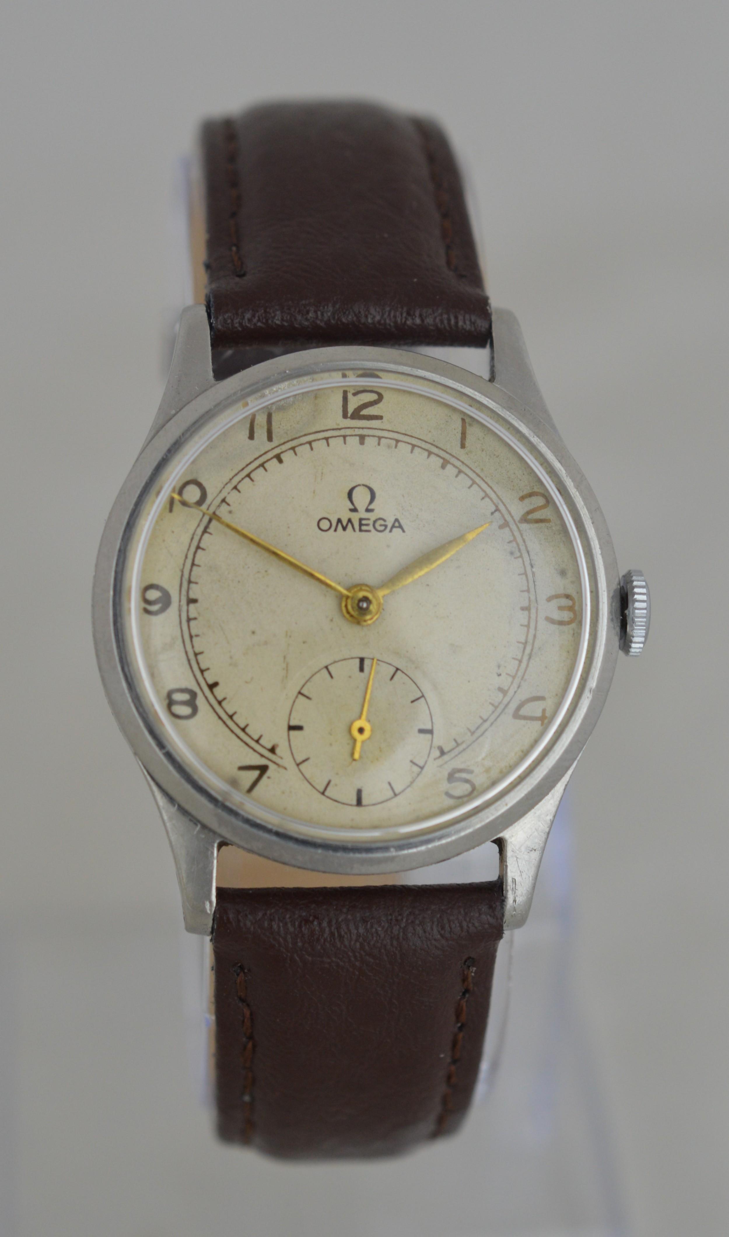 1948 omega 'denisteel' cased wristwatch