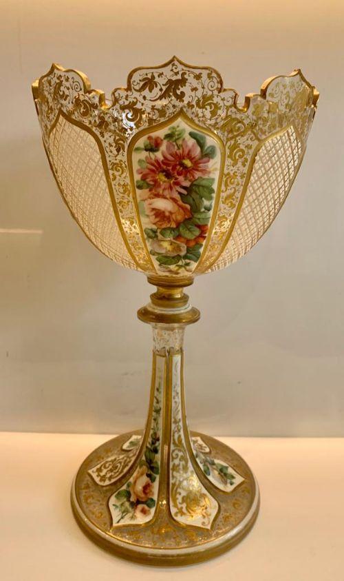 superb large bohemian overlaid glass vase of chalice form circa 1870