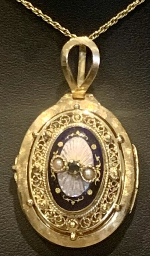 a large victorian pendant locket sapphire set 14ct gold pink blue guilloche enamel locket