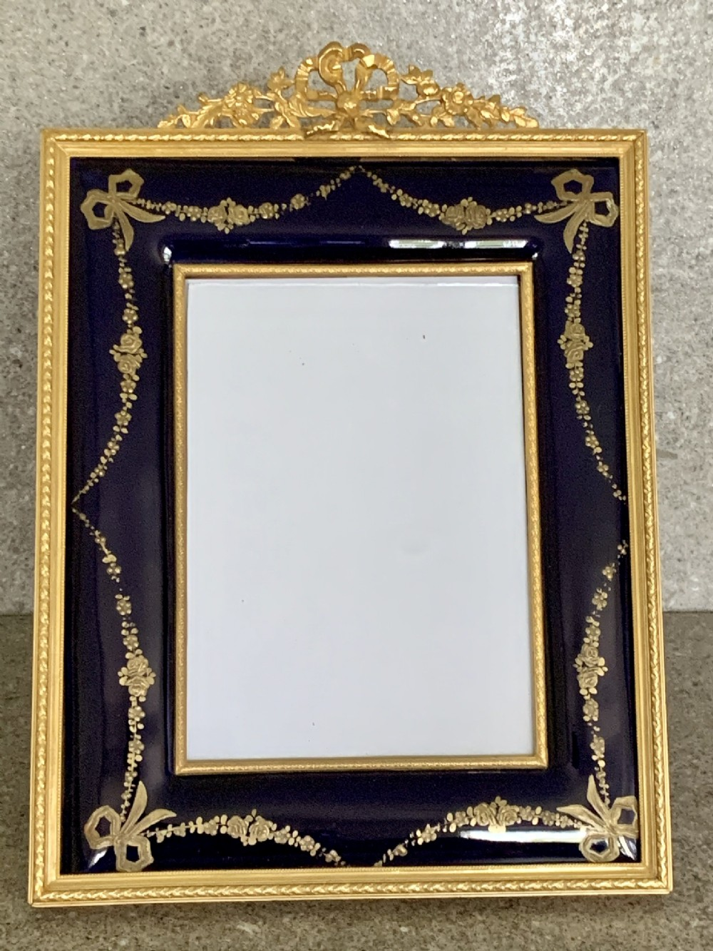 antique french ormolu enamel picture frame
