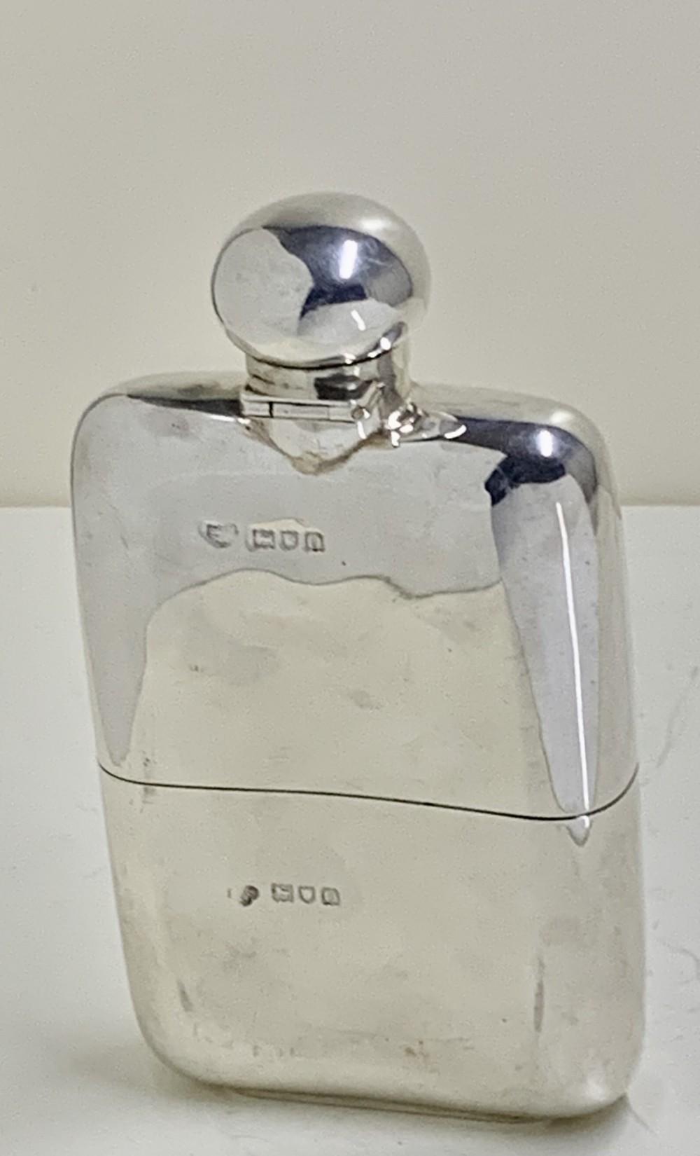 a edwardian sterling silver hip flask goldsmiths silversmiths 1909