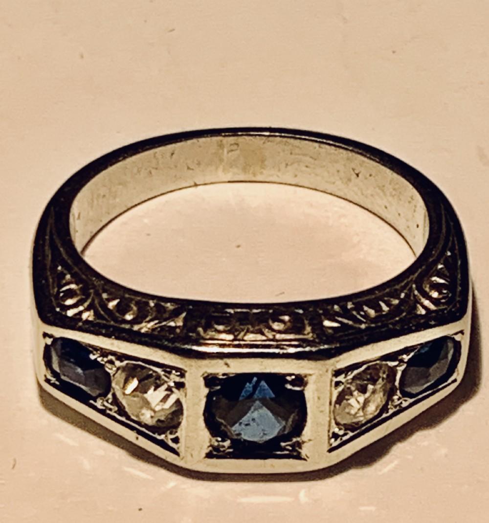 art deco platinum sapphire diamond five stone ring