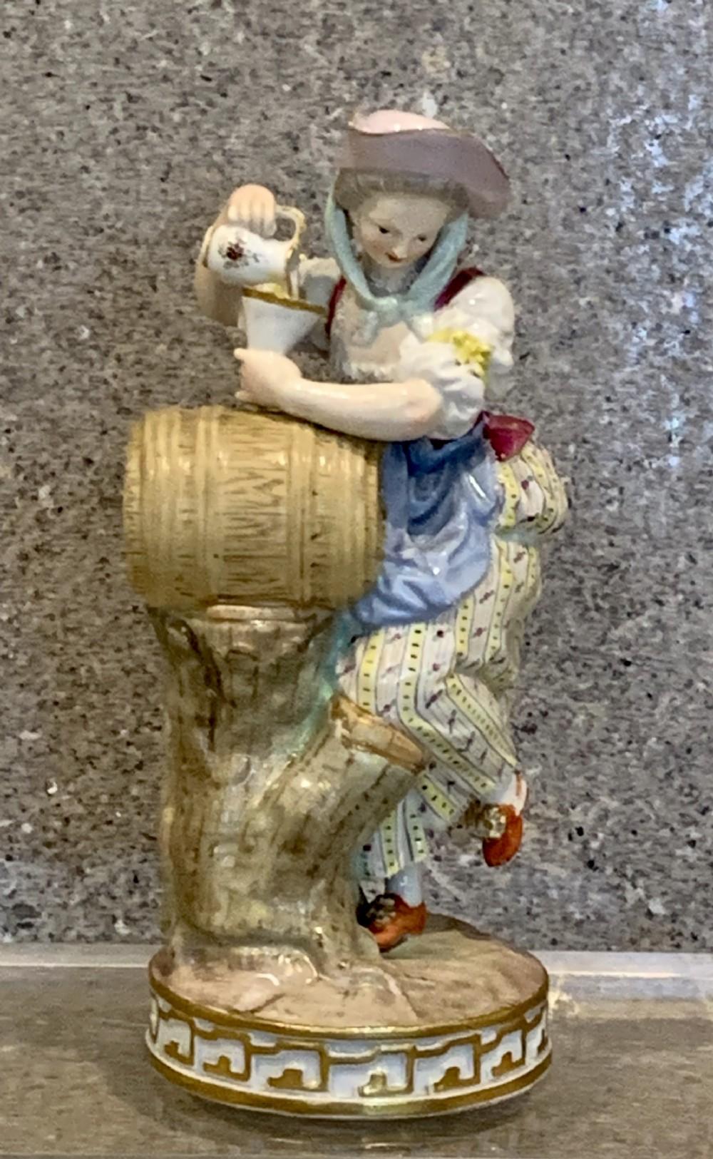 meissen grape harvester girl with funnel barrel antique