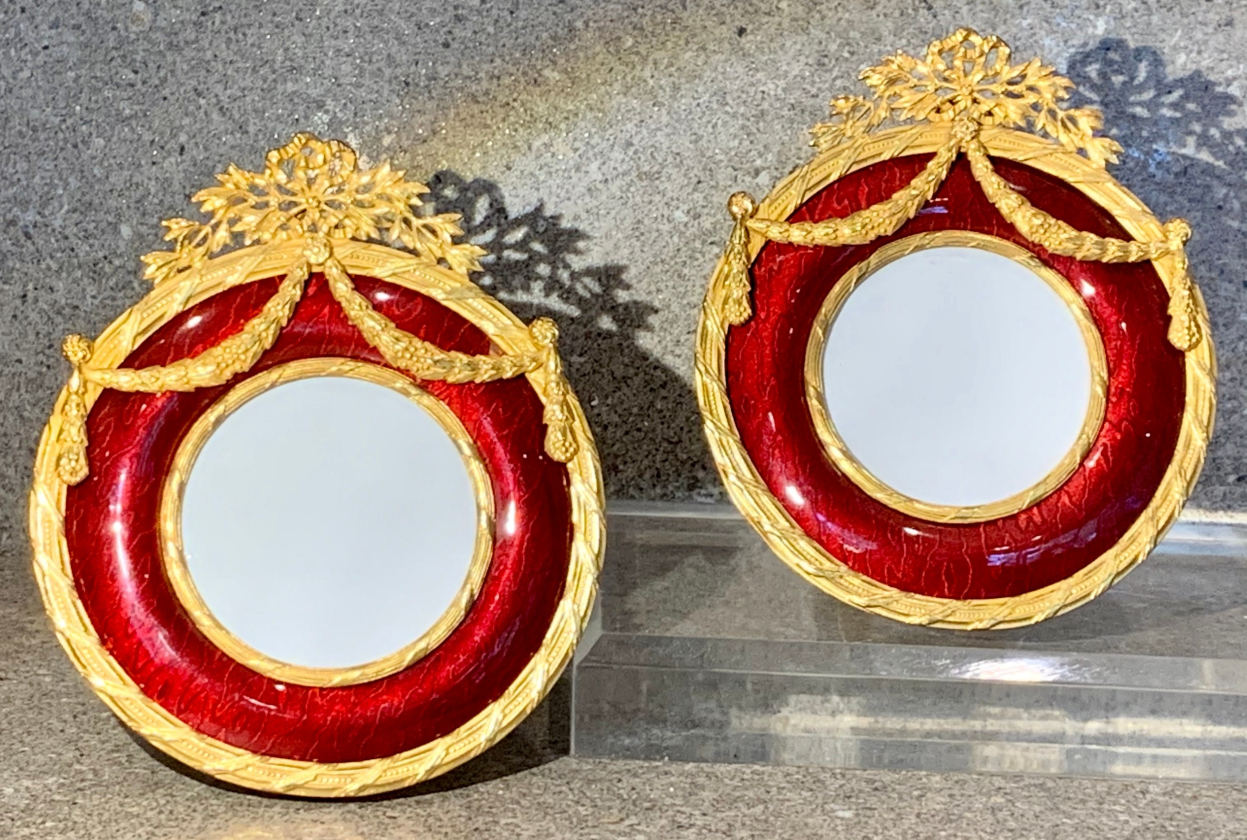 antique pair of red guilloche enamel ormolu gold picture frames