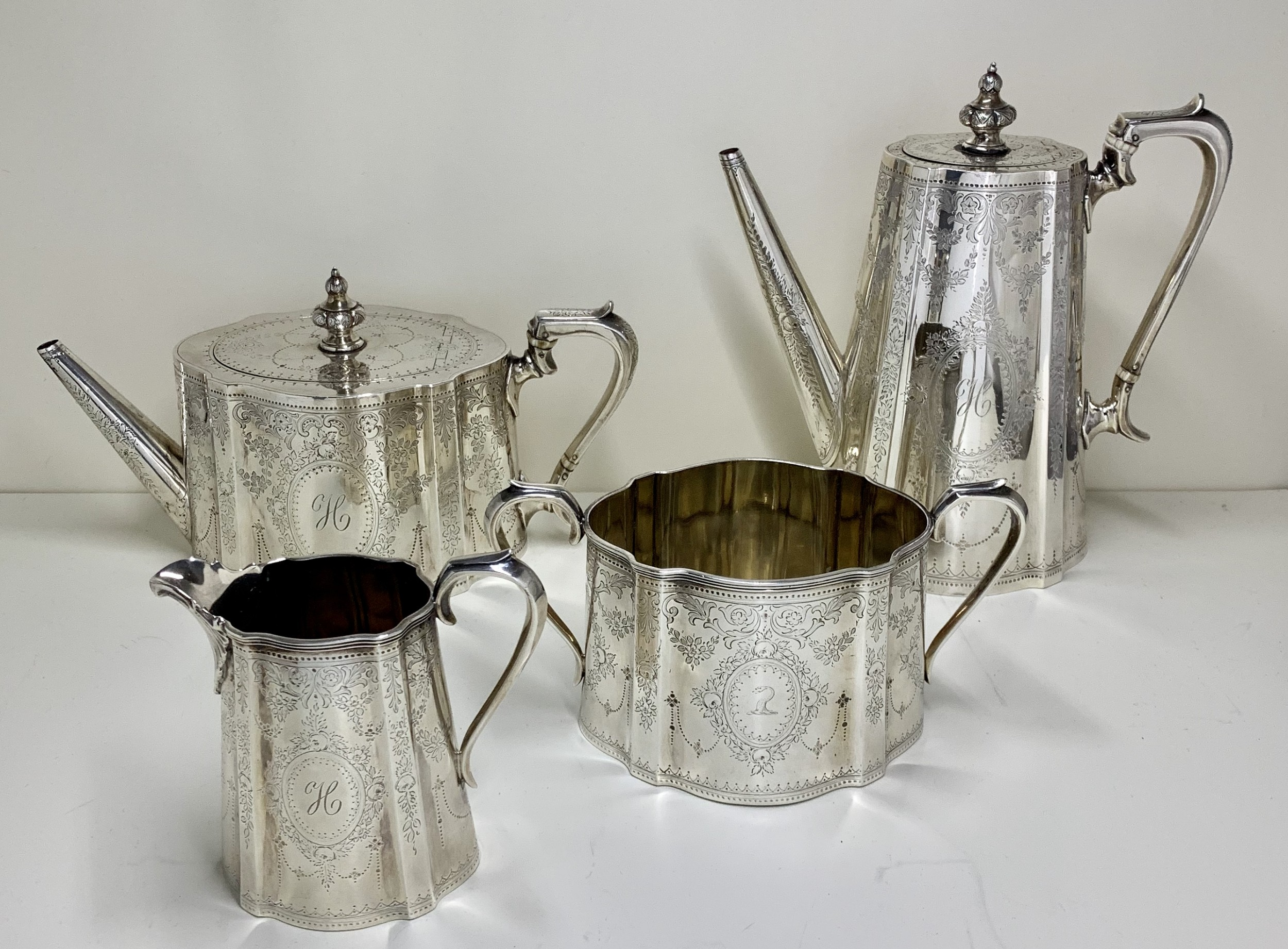 1873 a highly engraved victorian sterling silver tea coffee service