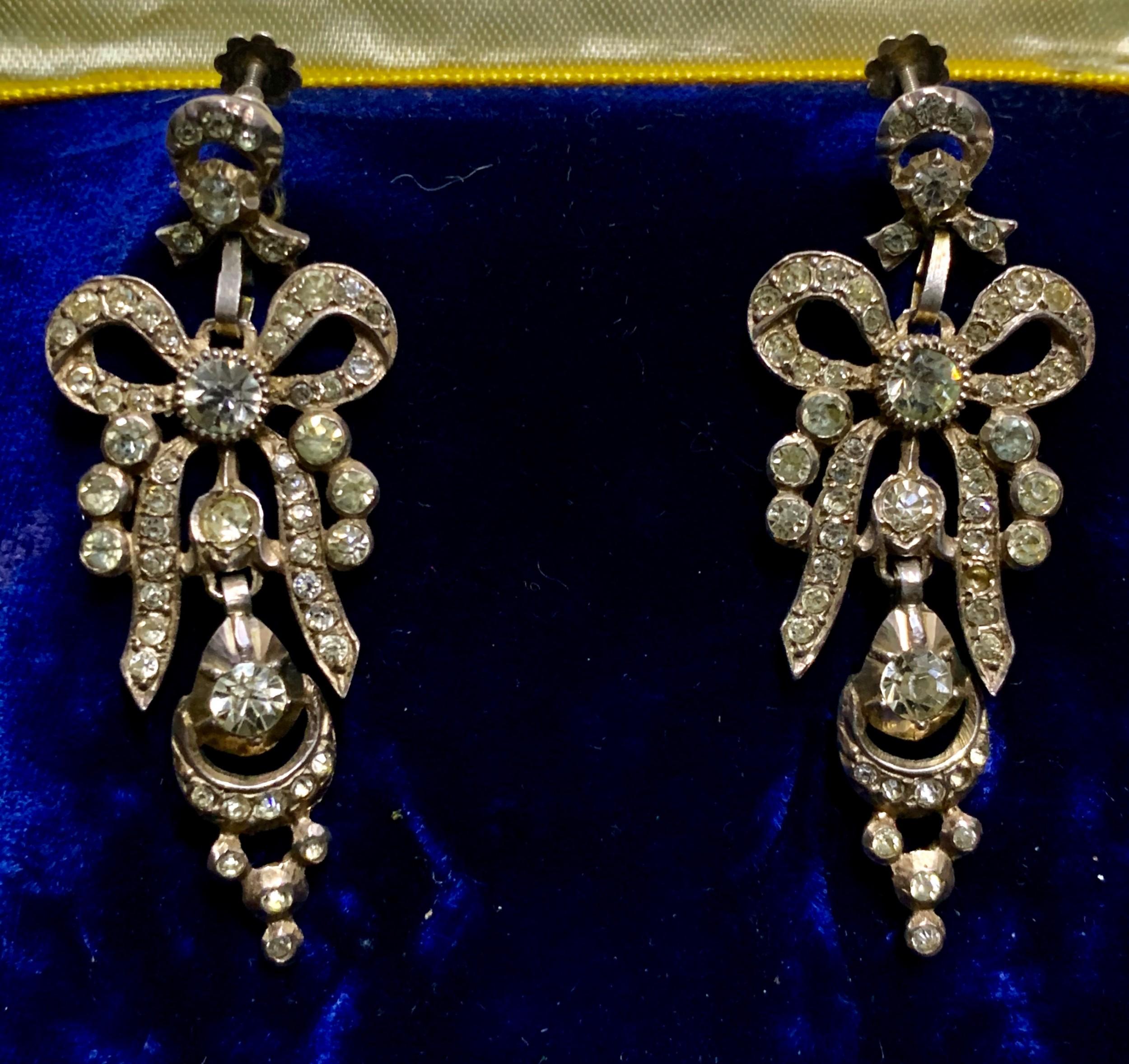 a pair of georgian paste long drop earrings