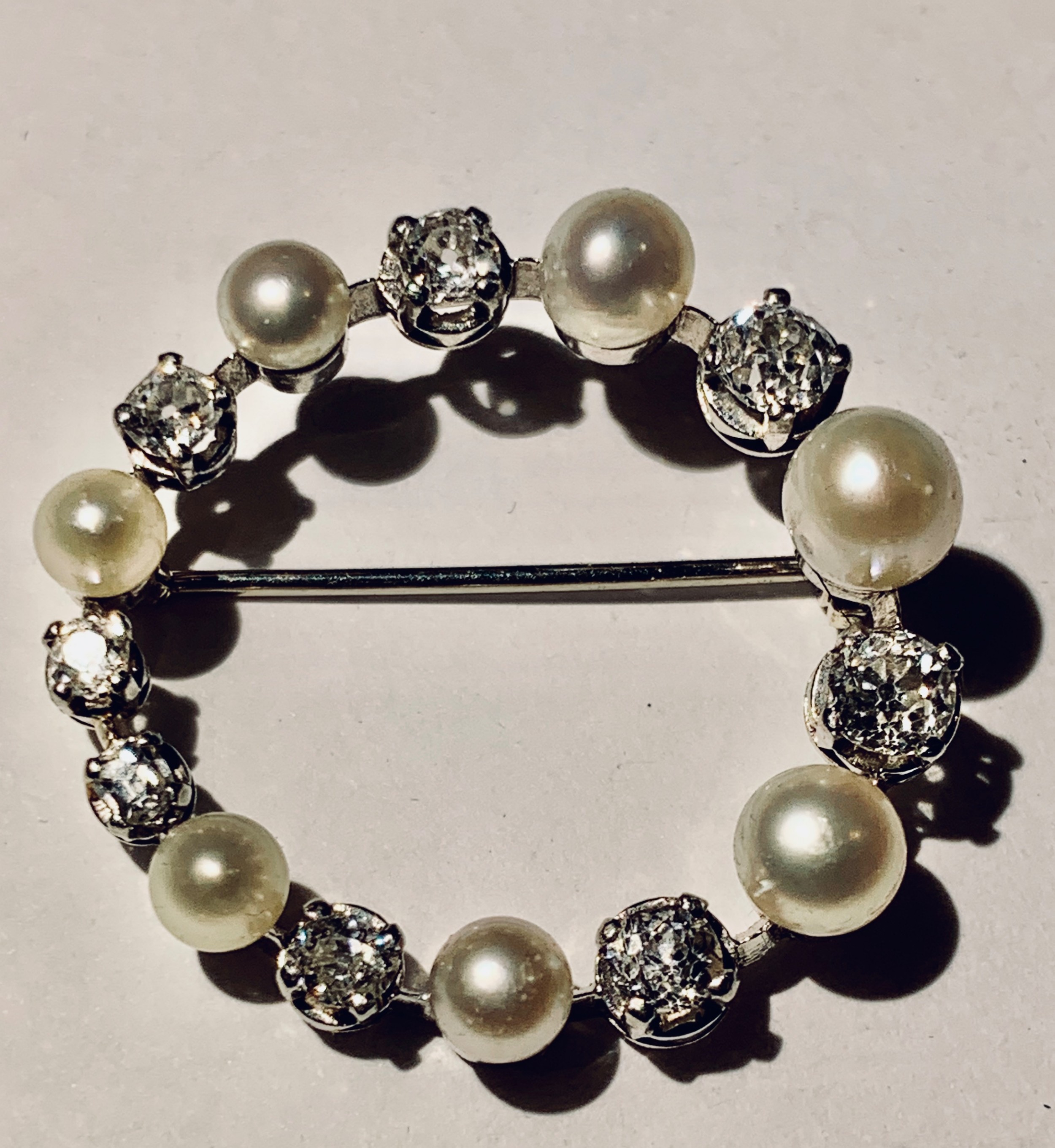a quality edwardian diamond natural pearl pin brooch