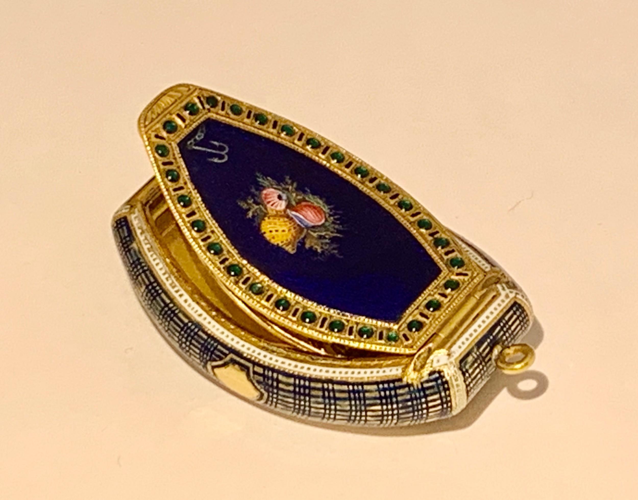 a rare swiss gold enamel jewelled vinaigrette box late 18th c