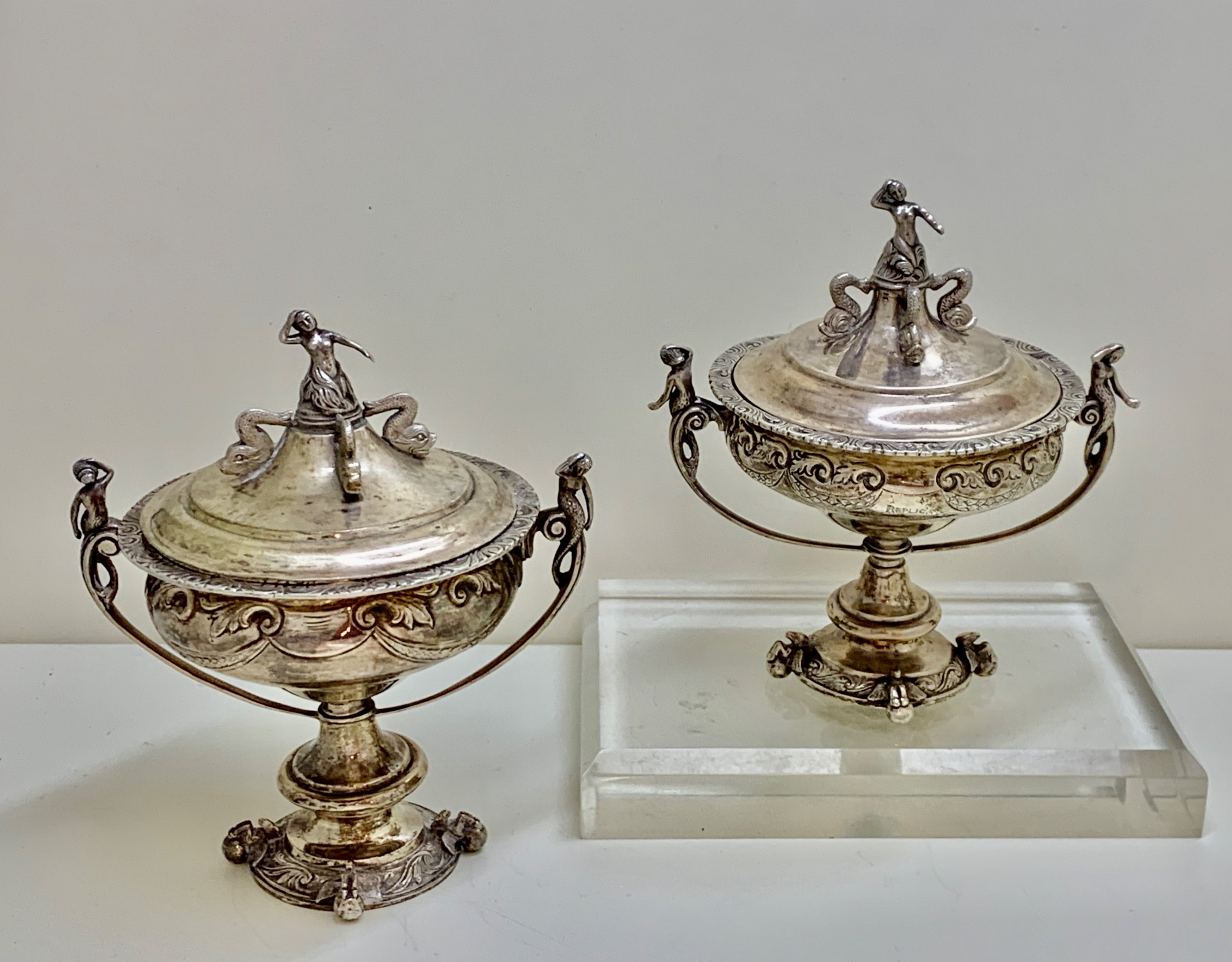 a superb pair sterling silver indian colonial lidded cups covers