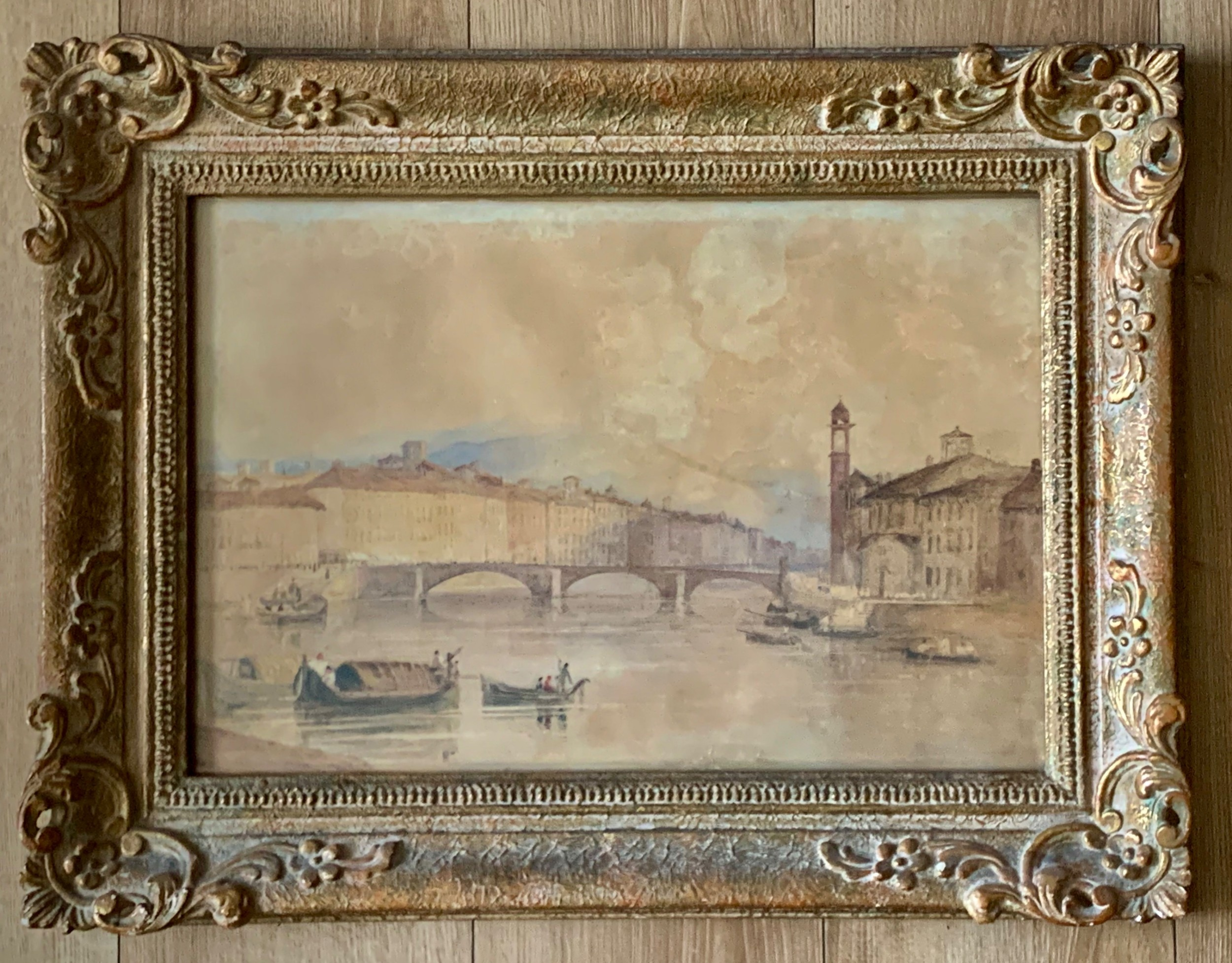 a antique veiw river arno florence watercolour painting