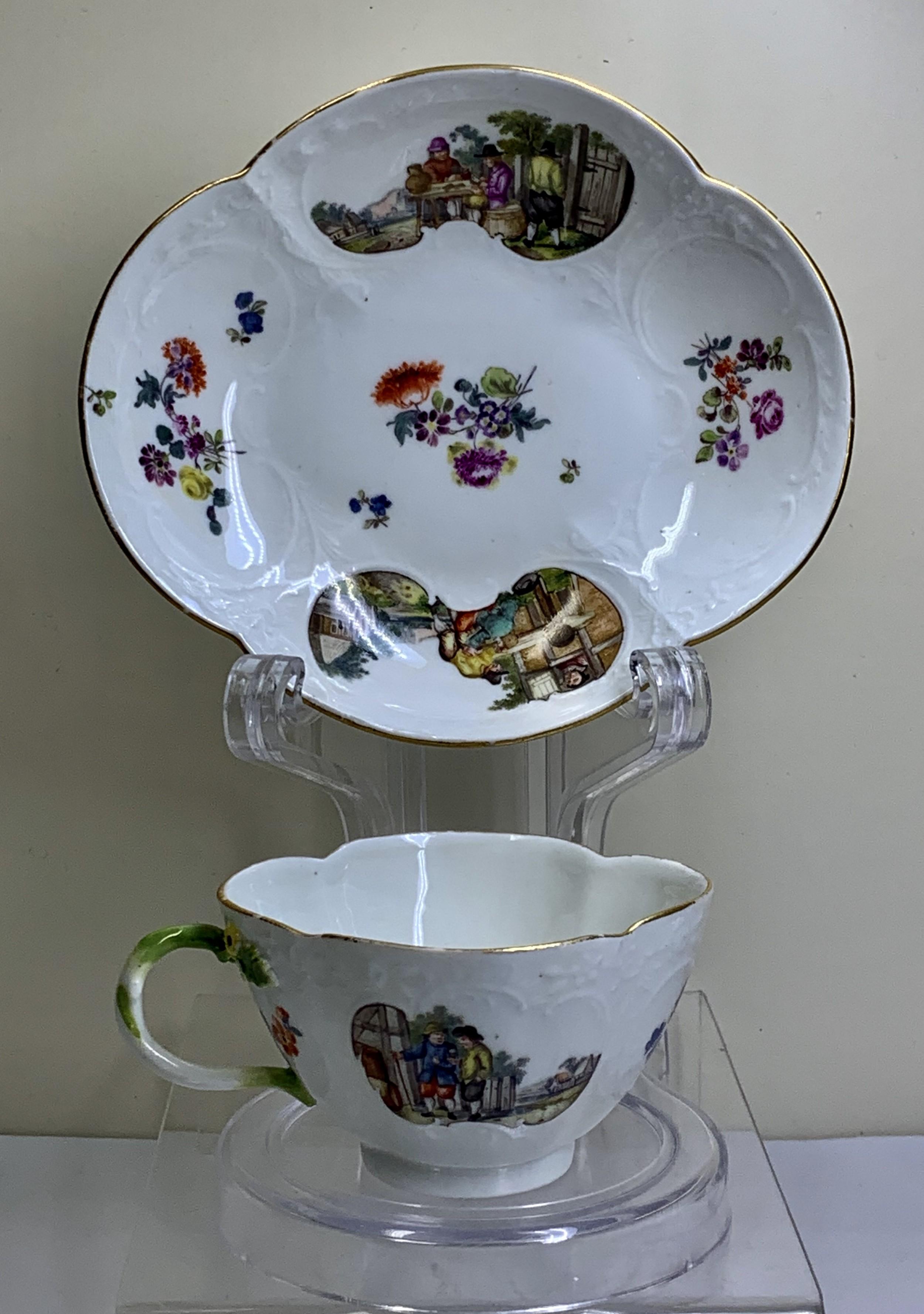 fine meissen teabowl saucer moulded rococo panels