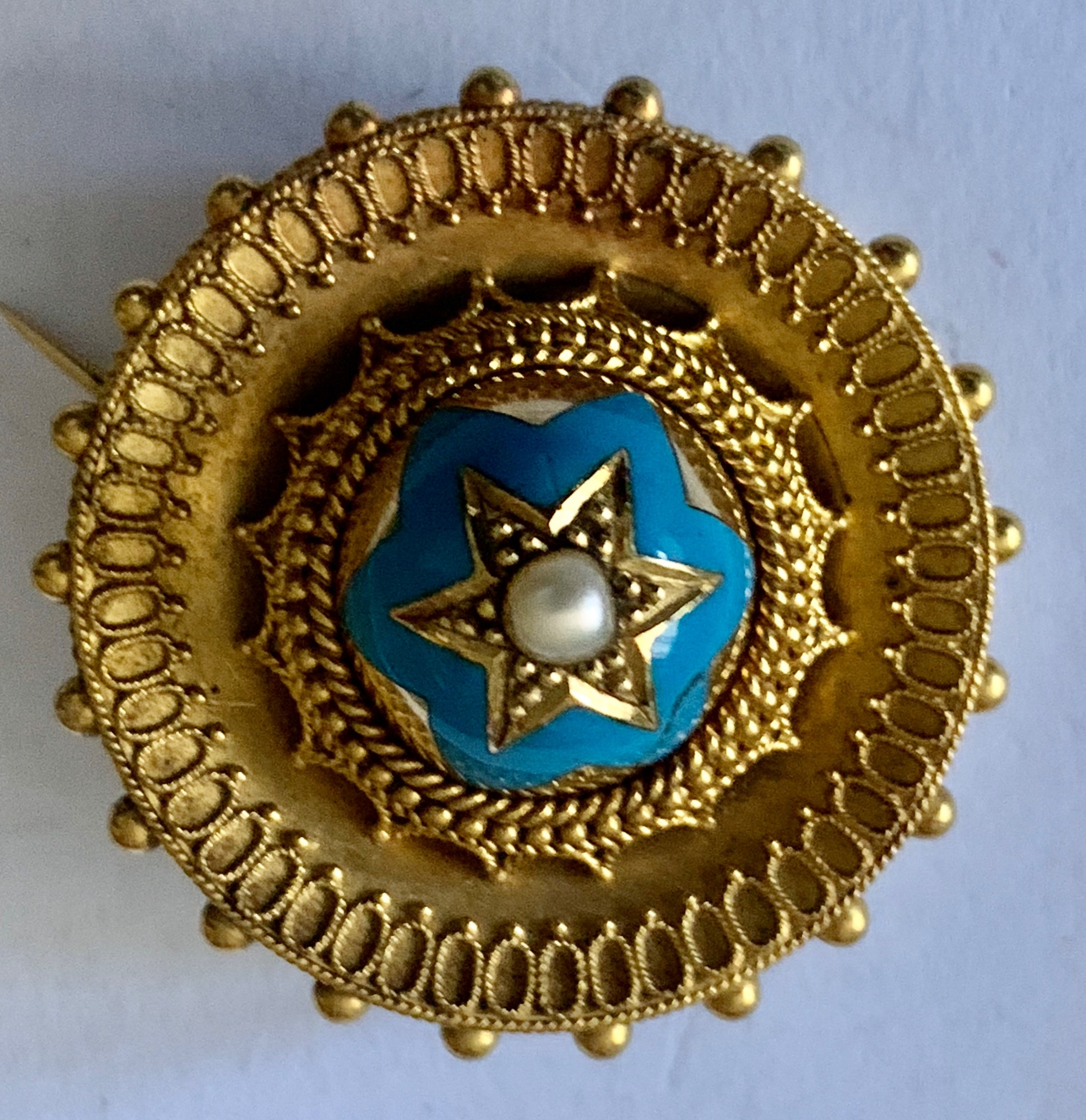 a victorian etruscan pearl star turquoise enamel 18k gold brooch