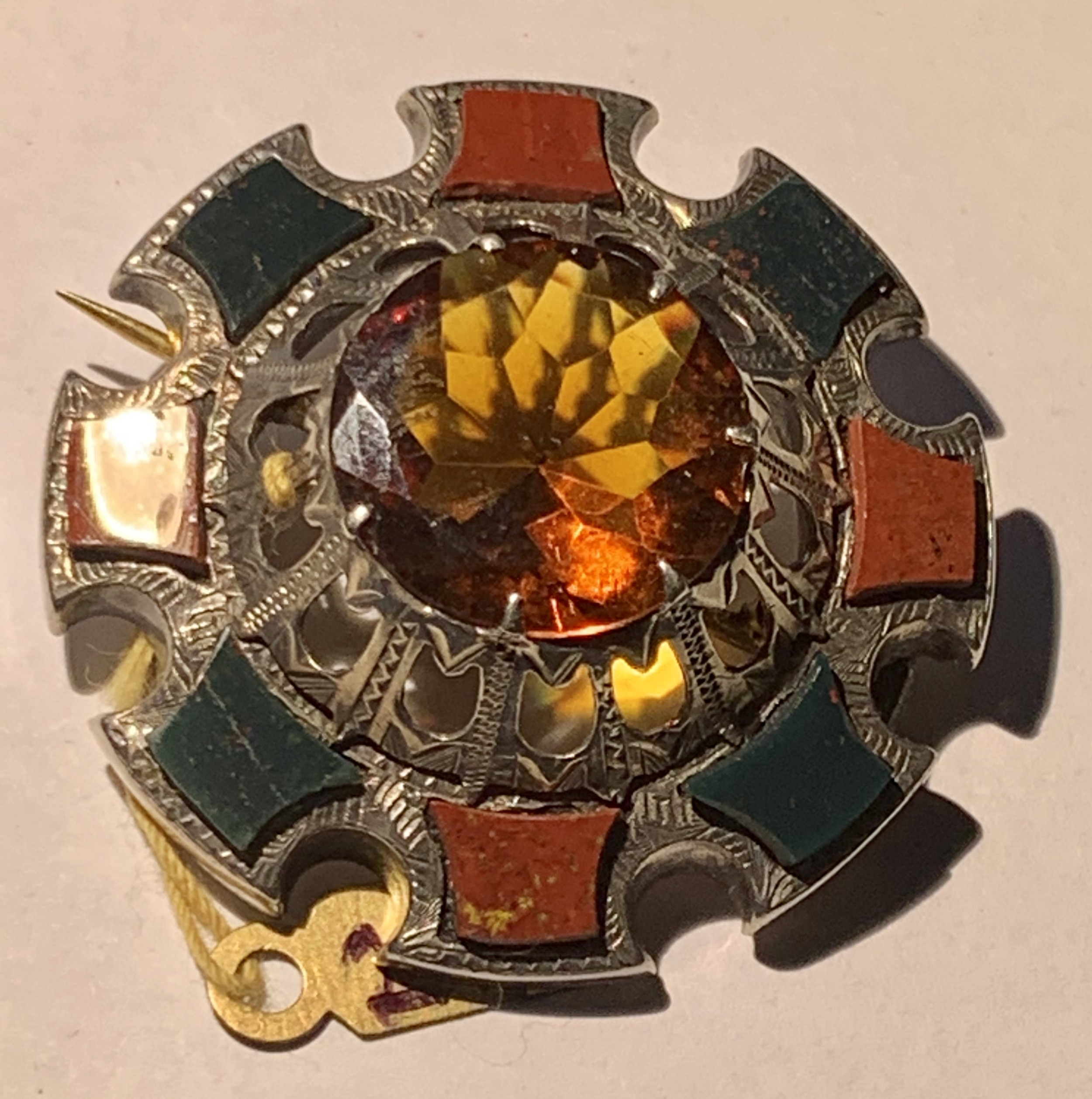 large victorian silver scottish agate citrine brooch pin