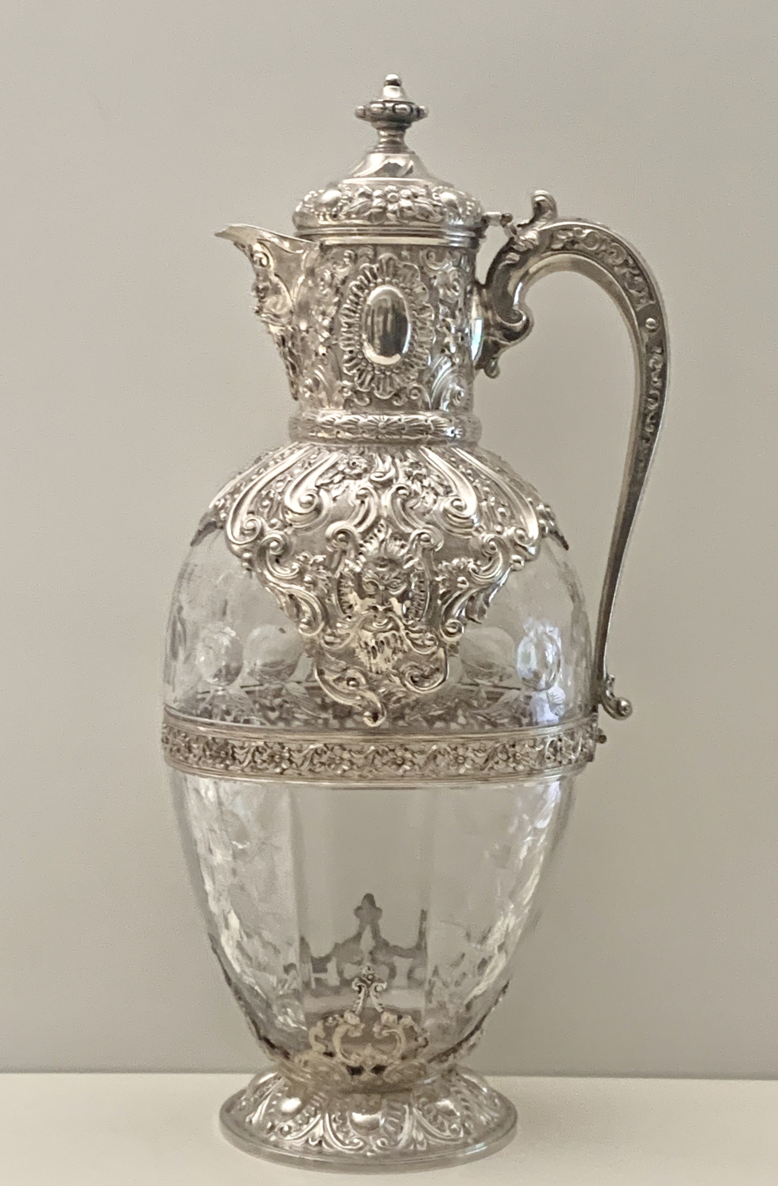 a superb victorian silvermounted antique rock crystal glass claret jug by charles edwards london 1892