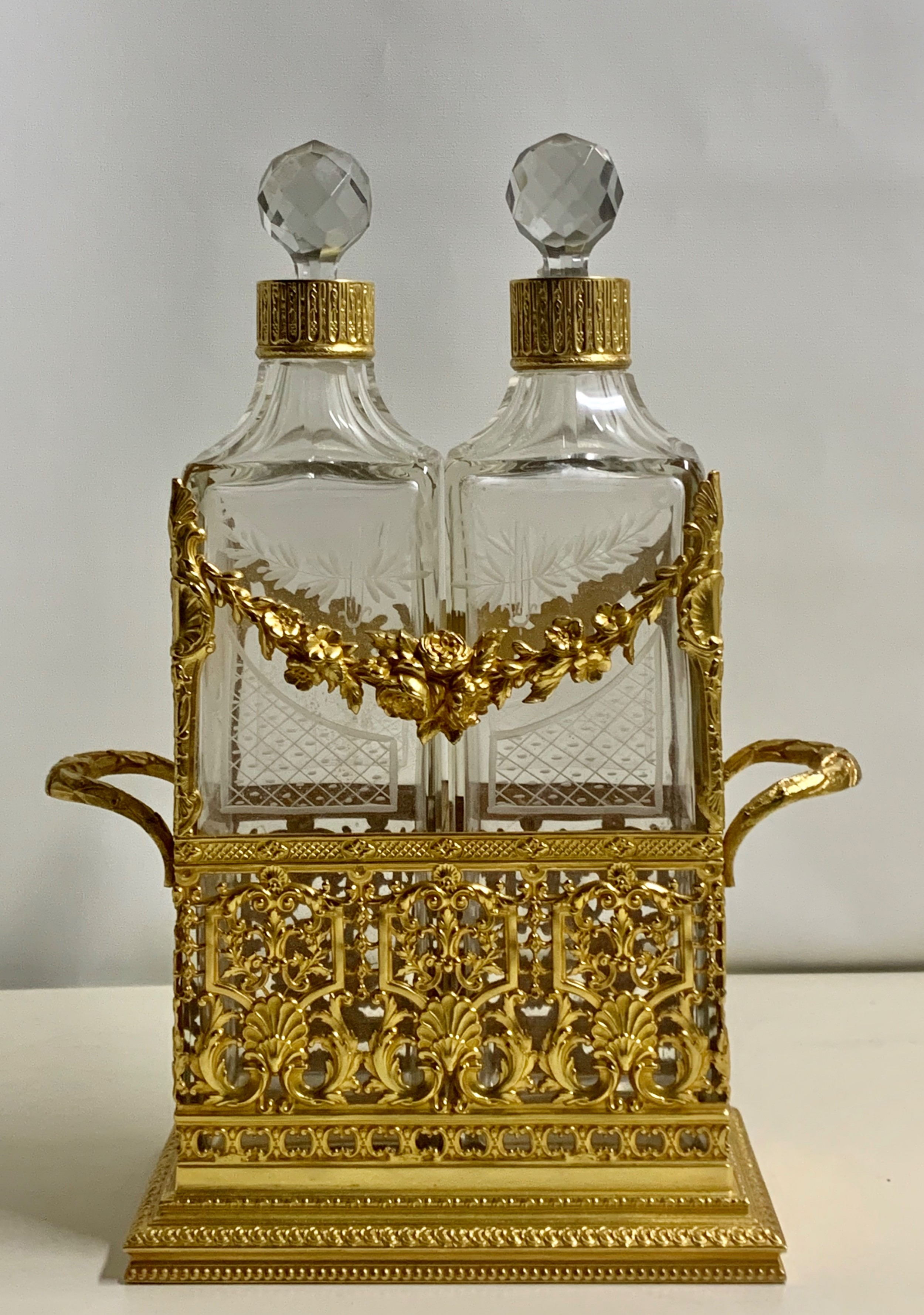 a high quality french gilt bronze double decanters and stand