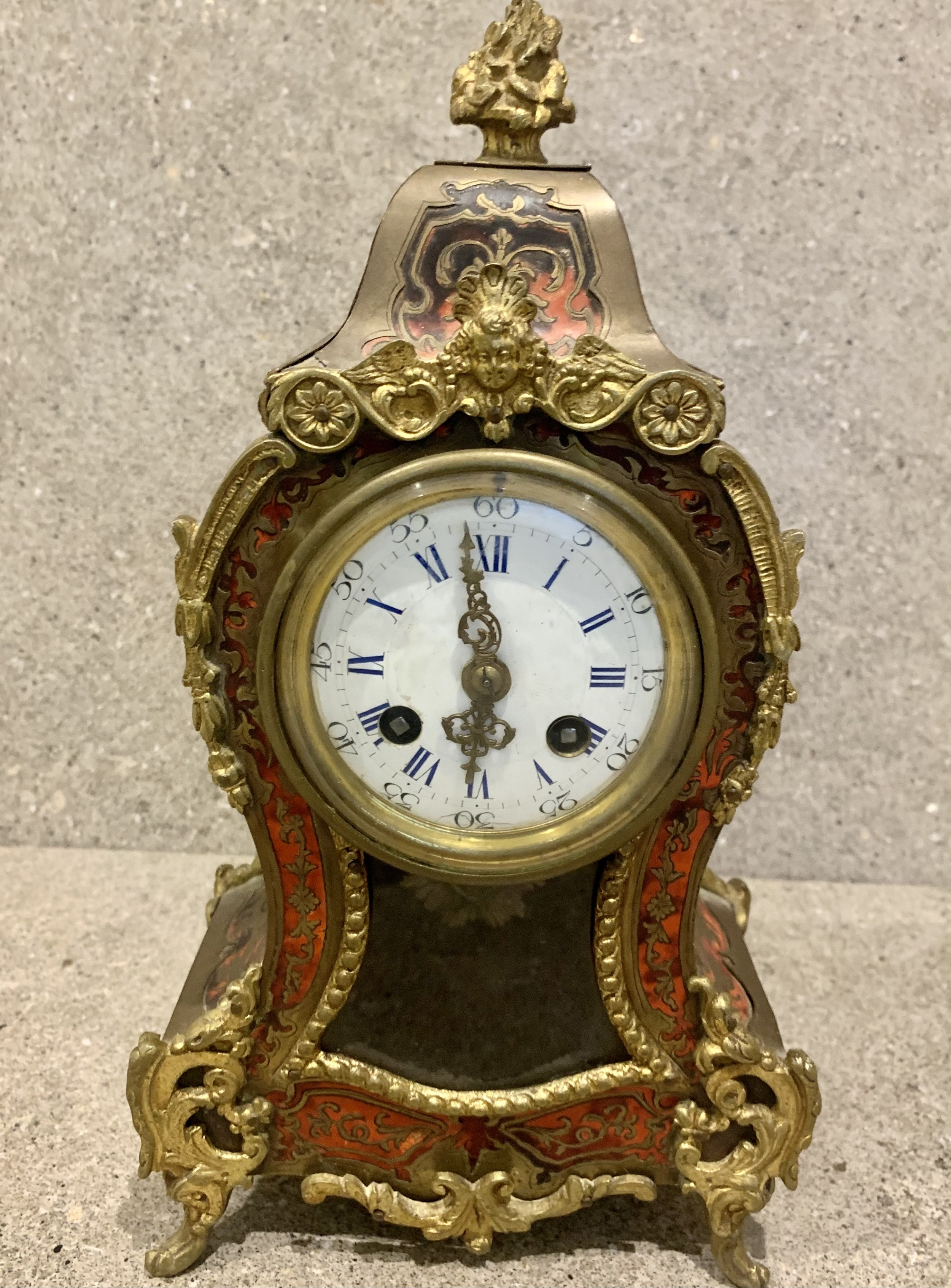 antique 19thc french 8 day bell striking red shell inlaid boulle mantle clock