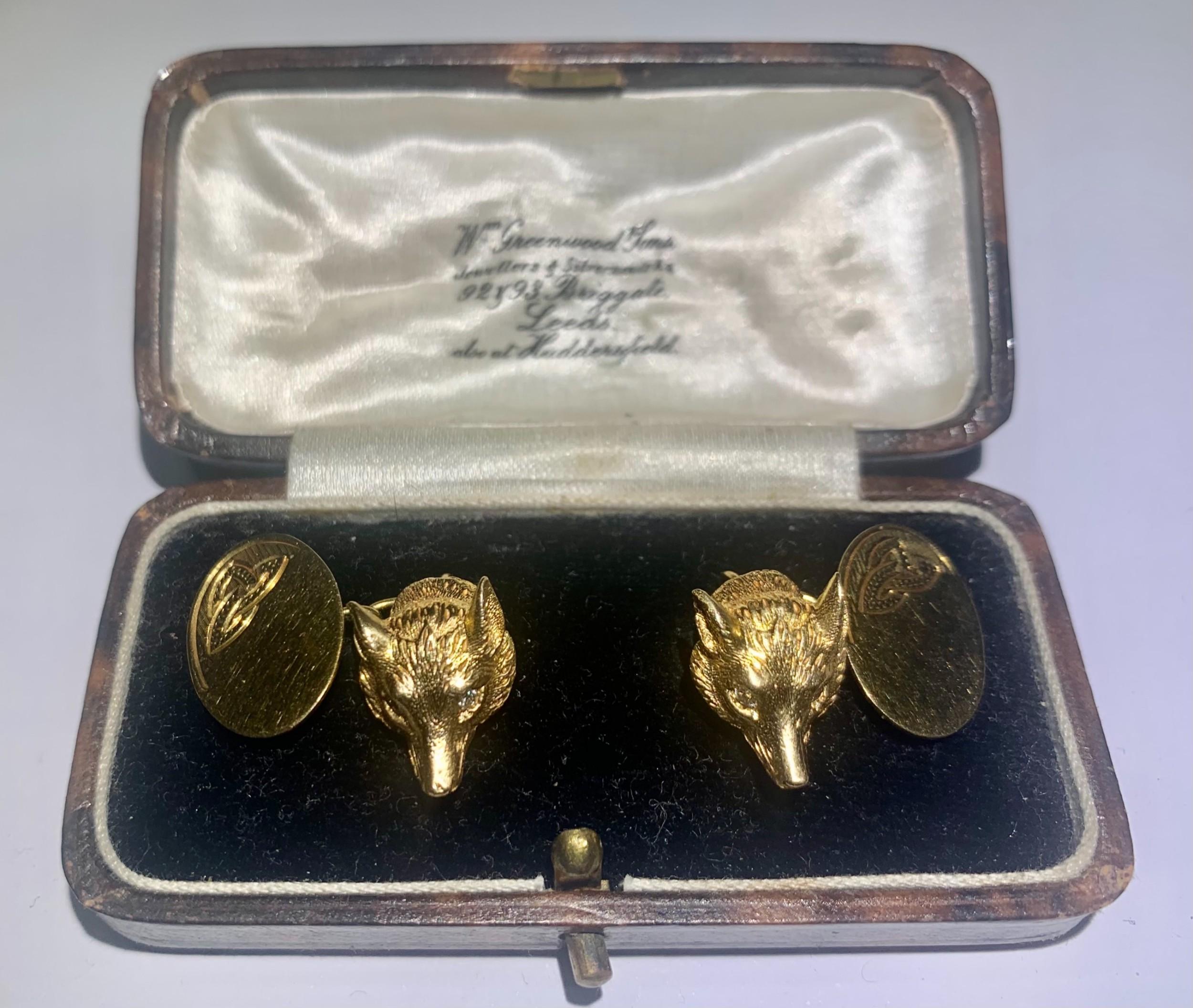 pair antique edwardian diamond eyed fox head cufflinks in 9k gold