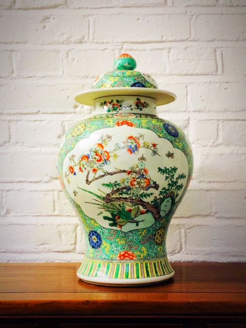chinese famille verte jar and cover