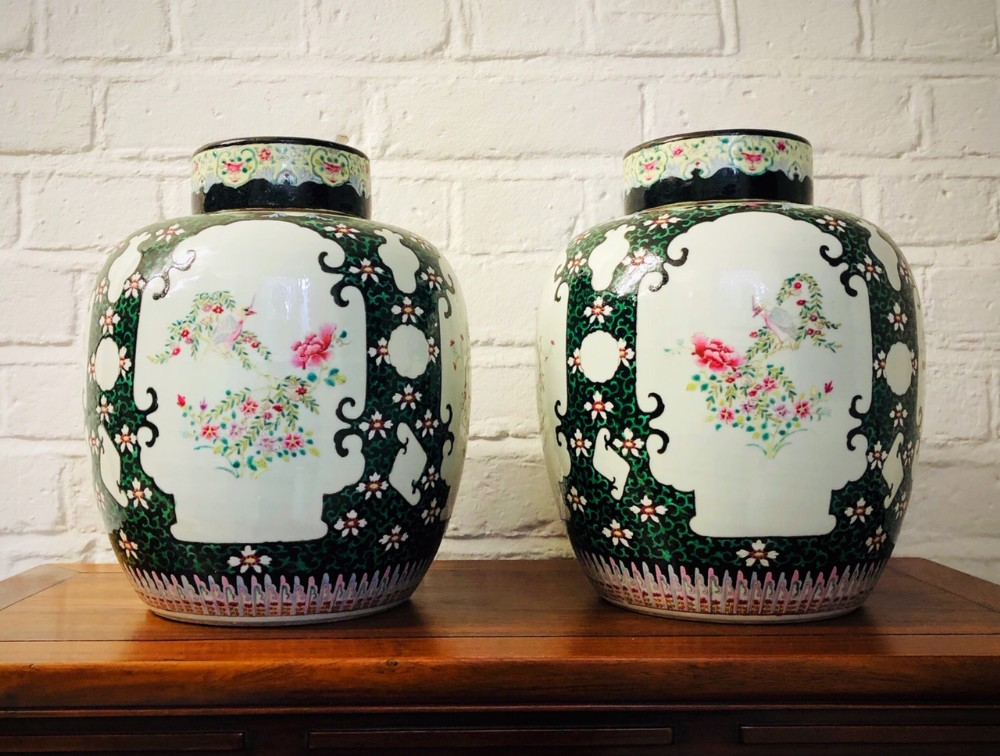 pair of chinese famille rose ginger jars c1870
