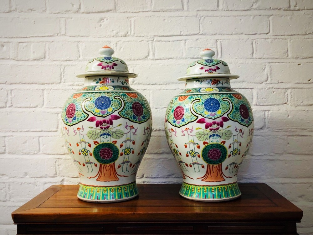 pair of antique chinese famille rose jars and covers c 1850