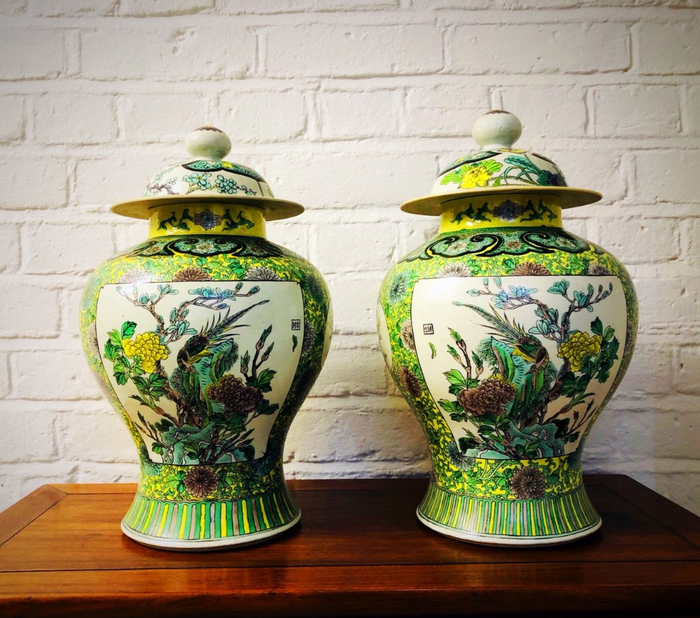 a highly decorative pair of chinese famille verte porcelain vases c 1880